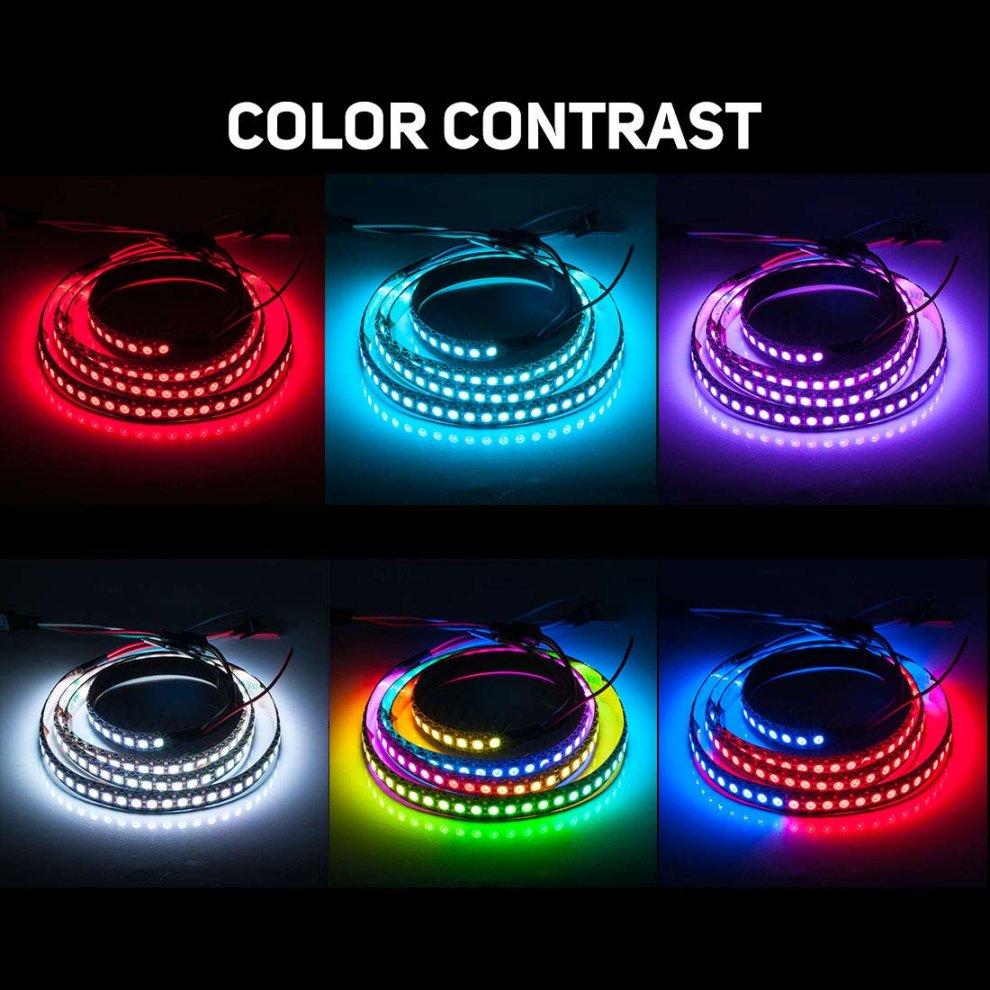 BTF-LIGHTING WS2812B 144 leds/pixels/m Black PCB Individual Addressable  Full Color led pixel strip Dream Color Non-waterproof 3 2FT 1m