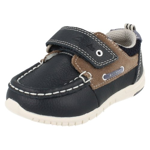 Boys Clarks First Shoes Deck Flex - Navy Leather - UK Size 4G - EU Size 20 - US Size 4.5W