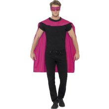 Smiffy's Unisex Cape And Eye Mask Set (pink) -  cape fancy dress superhero mask mens costume adult ladies outfit pink eyemask set
