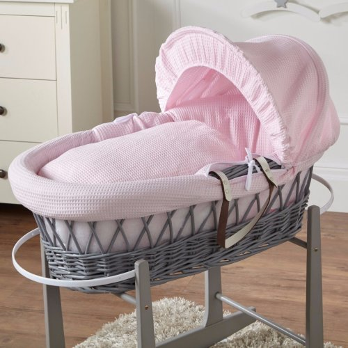 Pink Waffle Grey Wicker Moses Basket