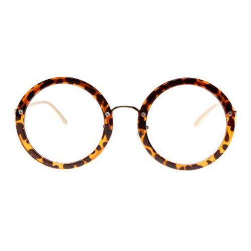 Retro Round Glasses Frames Fashion Flat Glasses -Leopard