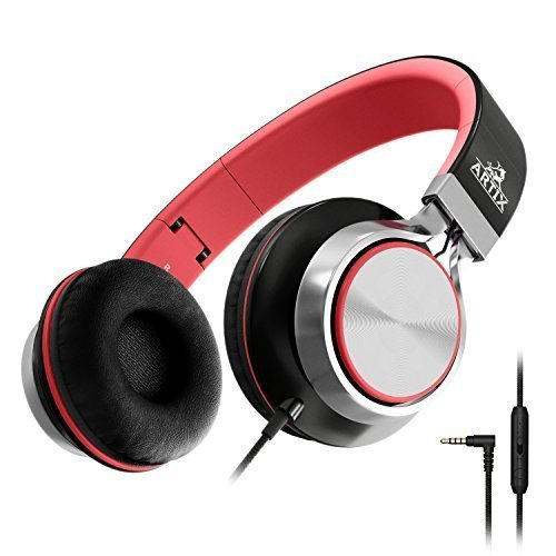 Artix CL750 On-Ear Foldable Adjustable Tangle-Free Wired Headphones, Compact Stereo Earphones with In-line Microphone and Controls for Children,...