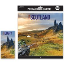 2018 Calendar & Diary Set Scotland Christmas Birthday Gift Square Home Office Scottish Landscapes Scenes Scenic Scenery Buildings