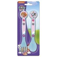 Paw Patrol Girls Plastic Cutlery Set Spoon And Fork - Skye Everest Weaning -  paw patrol plastic cutlery fork spoon skye everest girls weaning child