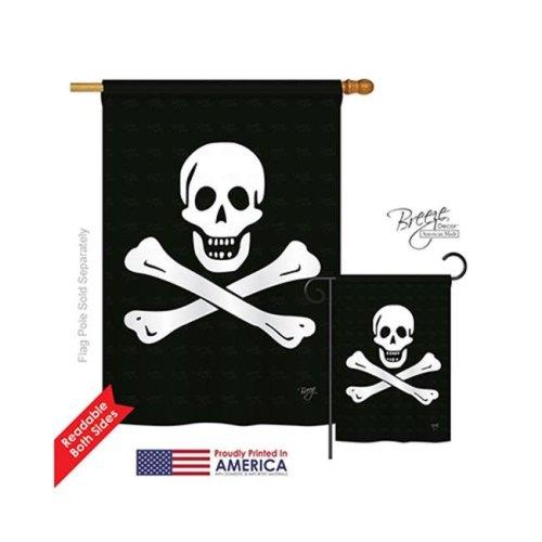 Breeze Decor 07032 Pirate Black Sam 2-Sided Vertical Impression House Flag - 28 x 40 in.