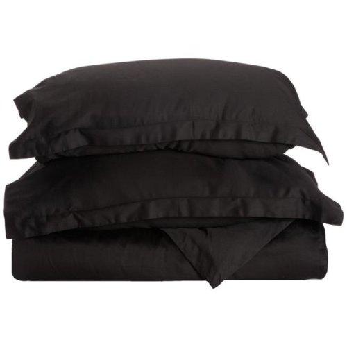 Impressions 300KCDC SLBK 300 King & California King Duvet Cover Set, Egyptian Cotton Solid - Black