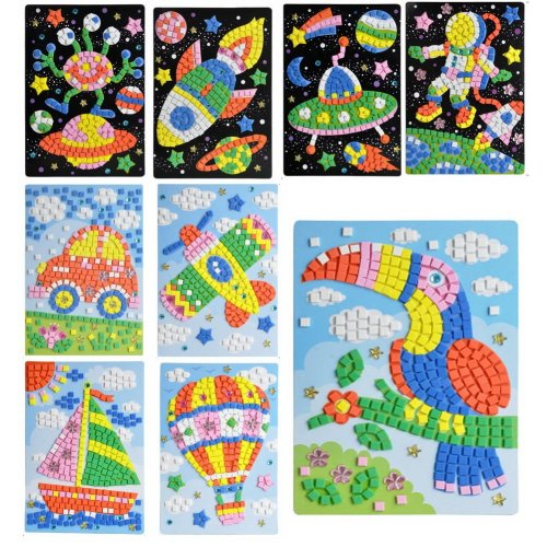 Astronauts & Spacecraft Sticky Mosaics for Kids Party Supplies, 9 Pics