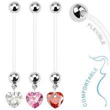 Heart Shape Crystal Charm Flexible Pregnancy Belly Bar