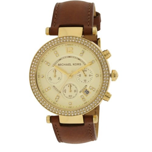 Michael Kors Parker Chocolate Leather Chronograph Ladies Watch MK2249