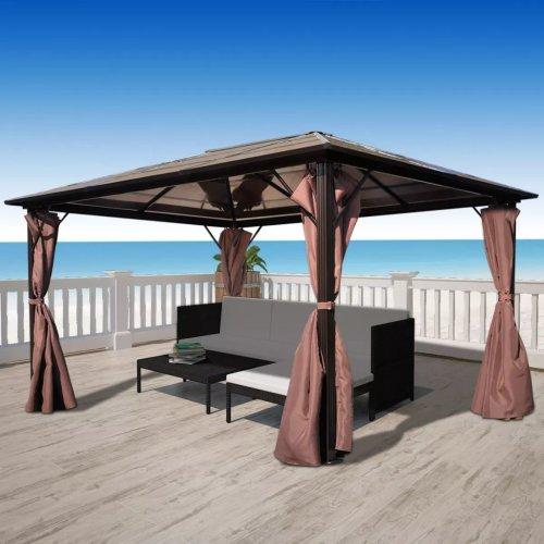 vidaXL Gazebo with Curtain Brown Aluminium 400x300cm Outdoor Marquee Pavilion