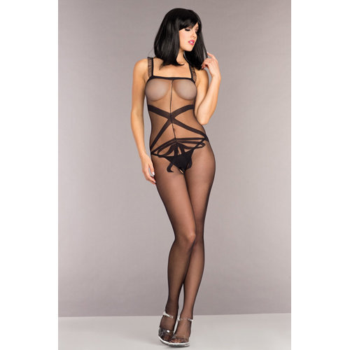 Bodystocking With Ribbon Design And Ruffle Shoulder Straps One Size (S-L 34 - 40) Ladies Lingerie Cat suits - Be Wicked