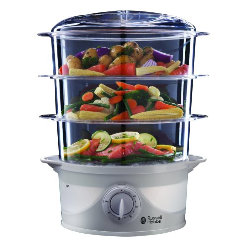 Russell Hobbs 21140 3-Tier Food Steamer, 800 W, 9 Litre, White