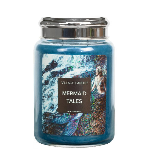 Village Candle 26oz Scented American Large Jar Candle with Double Wick Mermaid Tales