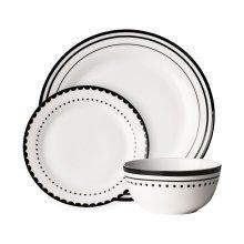Avie 12Pc Saturn Dinner Set, White & Black