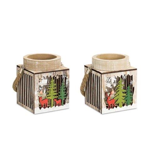 Melrose International 73033DS 7 in. Wood Winter Scene Lantern, Brown & Green - Set of 6