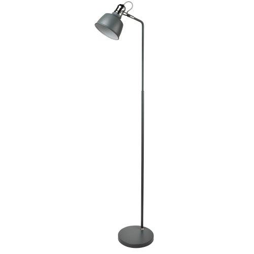1 Light Floor Lamp Matt Grey Chrome Detail