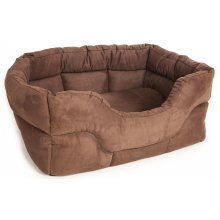 Rectangle Drop Front Softee Bed Faux Suede Brown 57x47x24cm