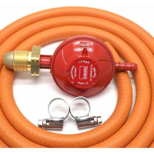 CALOR GAS Brand 37Mbar Screw on Propane Gas Regulator 2Mt Hose & 2 Clips 5 Year Warranty