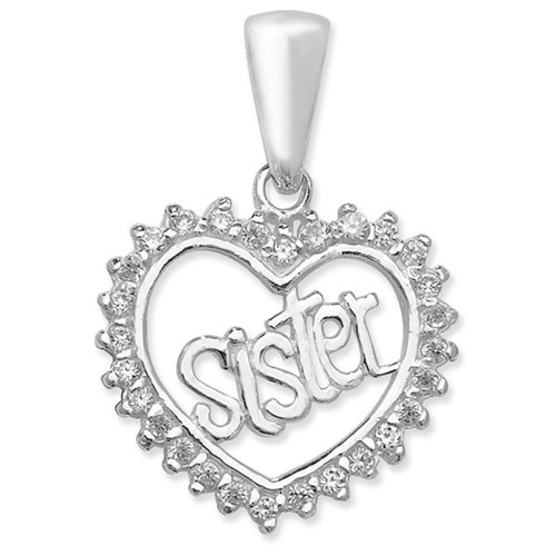 Childrens Sterling Silver Cubic Zirconia Sister Heart Pendant On A Curb Necklace