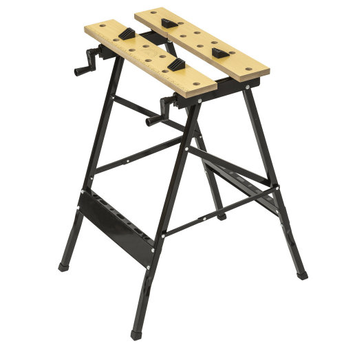 Workbench made of steel and wood - foldable - black