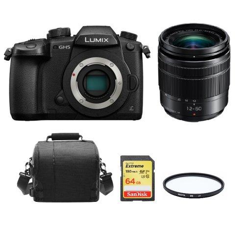 PANASONIC DMC-GH5 KIT 12-60mm O.I.S Black+64GB SD card+Bag+58mm Filter