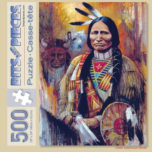 Bits and Pieces 500 Piece Jigsaw Puzzle for Adults - Chief American Horse - 500 pc Native American Jigsaw by Artist Ruane Manning