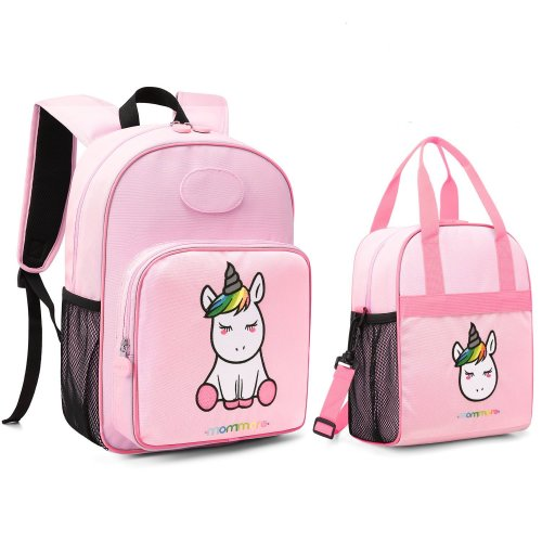 0b503b27a6fb mommore 2 in 1 Cute Unicorn Kids Backpack with Insulated Lunch Bag for Boys  and Girls Pink