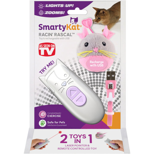 SmartyKat Racin' Rascal Mouse & Remote Control With Laser-