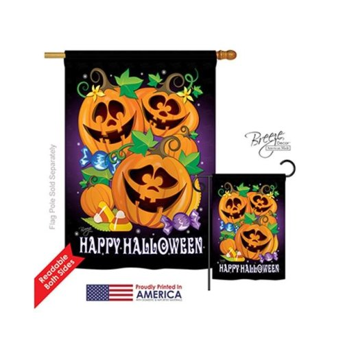 Breeze Decor 12049 Halloween Happy Pumpkins 2-Sided Vertical Impression House Flag - 28 x 40 in.