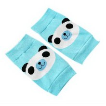 Cute Panda Print Children's Crawling Kneepads Breathable Cotton Elbow Pads, Blue