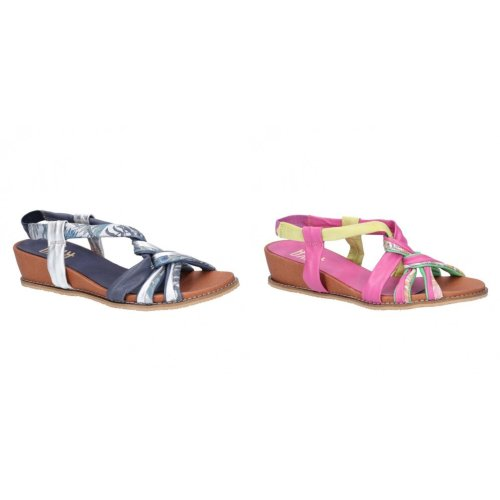Riva Womens/Ladies Diamond Elasticated Sling Back Leather Sandal
