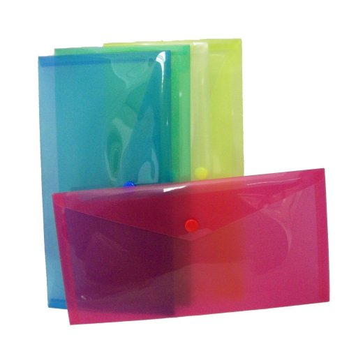5 x High Grade coloured A5 Plastic Folder Document Wallets Poppers
