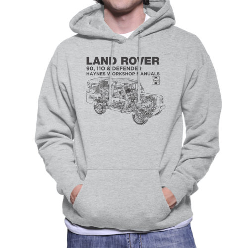 Haynes Owners Workshop Manual Land Rover Defender Black Men's Hooded Sweatshirt