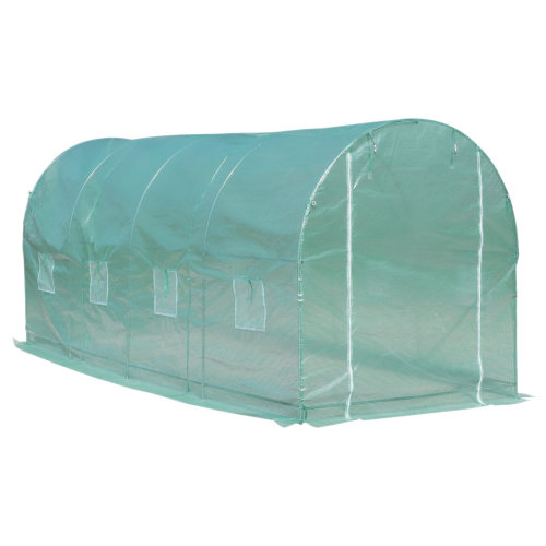 Outsunny Walk-in Tunnel Greenhouse Garden Warm House Planting Shed Powder Coated Frame - 500L x 200W x 210H cm