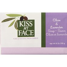 Kiss My Face Moisturizing Bar Soap, Pure Olive and Lavender, 8 oz Bars, (pack of 8)