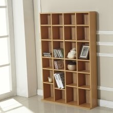 Homcom Cd/dvd Storage Shelf Rack Unit Shelves Wooden Bookcase Display Adjustable (beech)