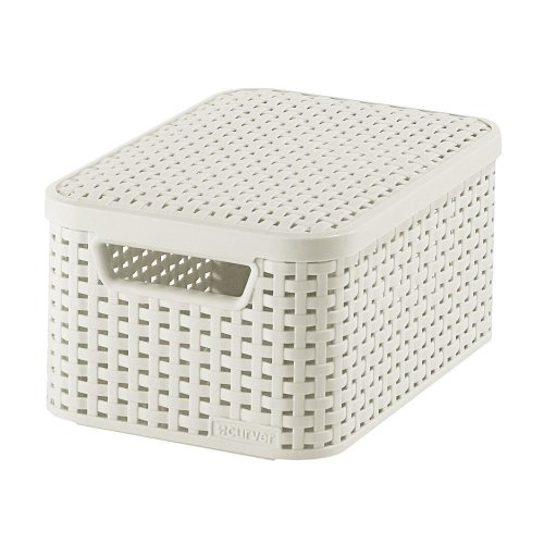 Curver Aspect Rotin Style 205839â Storage With Second Generation Lid Polypropylene Off White Small