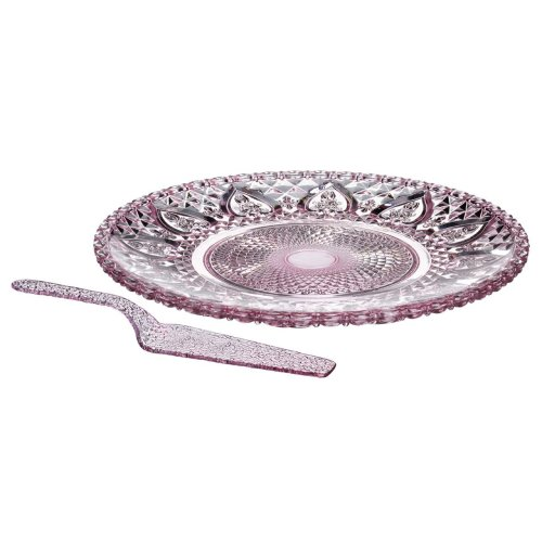 Cake Plate And Slice, Pink Glass