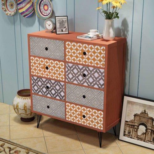 vidaXL Sideboard with 8 Drawers   Brown Retro Print Cabinet