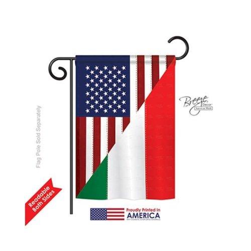 US Italian Friendship 2-Sided Impression Garden Flag - 13 x 18.5 in.