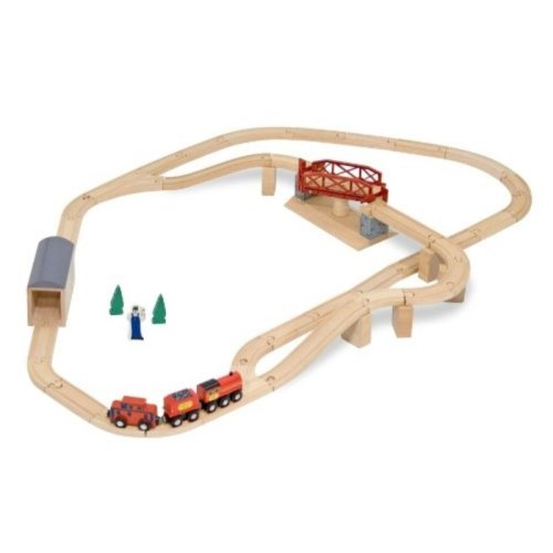 Melissa & Doug Swivel Bridge Wooden Train Set (47 pcs)