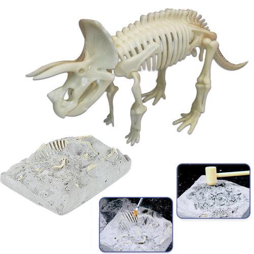 deAO Dinosaur Fossil Skeleton Figure Palaeontology Kit for Children Educational Simulated Dinosaur Bones Set (Triceratops)