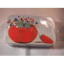 Hemline Pins with Multi Coloured Heads in an Attractive Tin