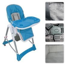 Todeco - Baby High Chair, Baby Foldable Chair - Deployed size: 105 x 75 x 60 cm - Material: PP - Blue