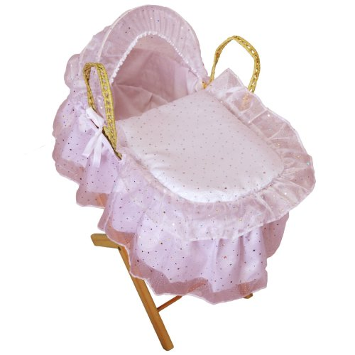 Broderie Anglaise Dolls Moses Basket Sparkle Pink