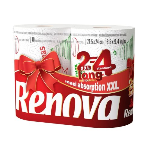 Renova White Print 2 Ply Christmas Xmas Kitchen Home Tissue Rolls Towels - 2 Rolls