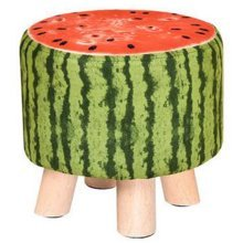 Creative Wood Fabric for Shoe Stool Household Stool Round stool Children Adults Apply, Watermelon