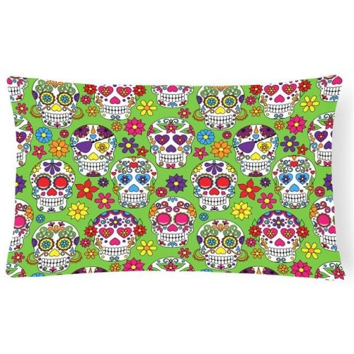 Carolines Treasures BB5117PW1216 Day of the Dead Green Canvas Fabric Decorative Pillow