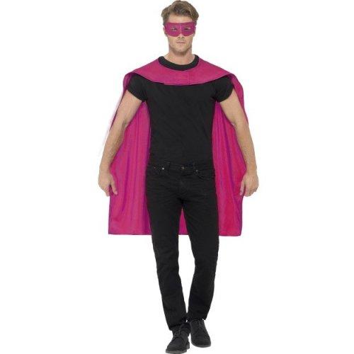 Smiffy's Unisex Cape And Eye Mask Set (pink) -  cape fancy dress superhero mask mens costume adult ladies outfit pink eyemask set