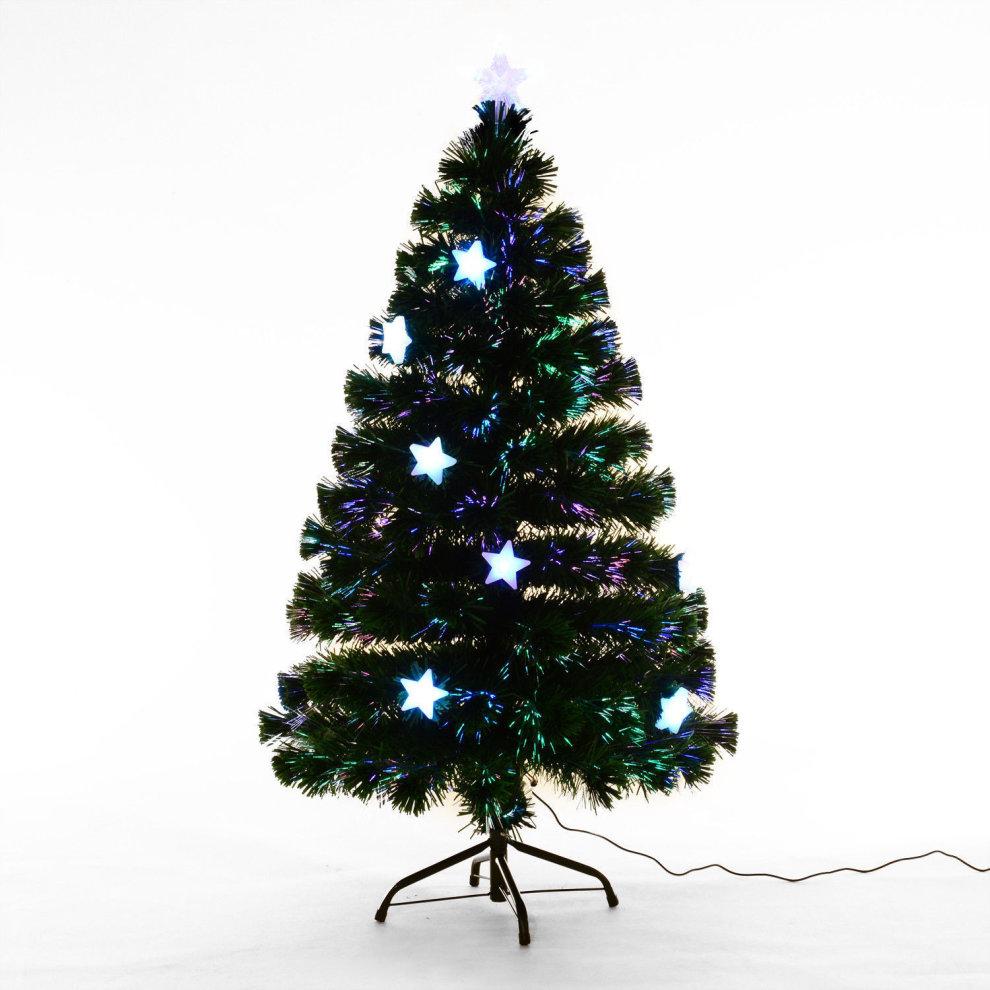 4 Ft Christmas Tree.Homcom 4ft Fibre Optic Christmas Tree With Led Stars